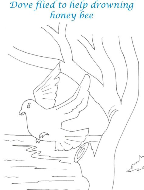 bee  dove story coloring page  kids