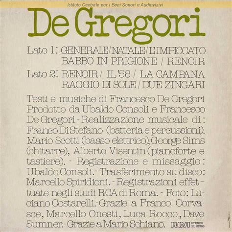 testo raggio di sole de gregori discografia nazionale della canzone italiana