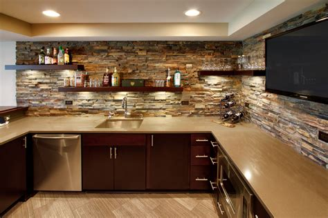 Lighting For Basement Ceiling by Stone Backsplash Ideas Kitchen Traditional With Blue Wall