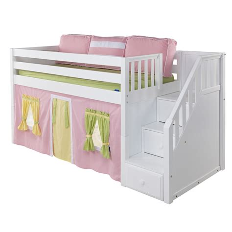 maxtrix great playhouse loft bed in white w stairs panel