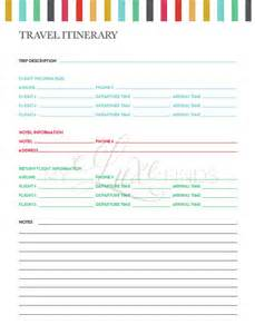 travel itinerary amp notes information printable home