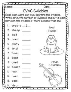 vcccv pattern words list silent syllable worksheets and phonics