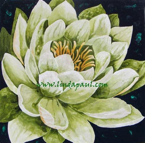 Lotus Kanvas 40x40 lotus flower painting green and white large original artwork contemporary paintings