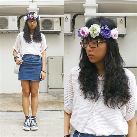 Wst 18465 White Flower Denim Skirt genia g flea market dress white dress and jean s