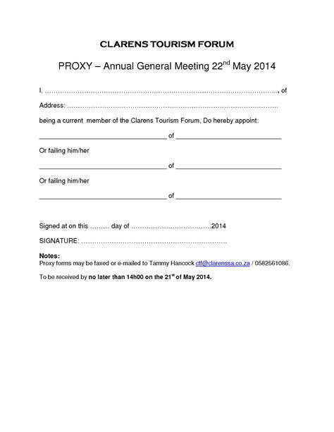 Clarens Tourism Forum Agm Proxy Form Clarens News Proxy Form Template