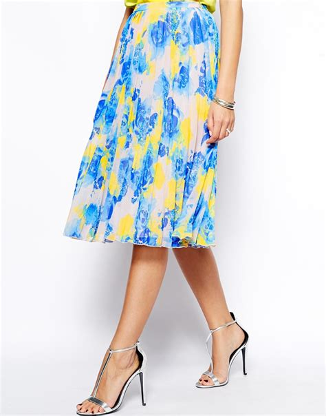 Pleated Floral Midi Skirt asos pleated midi skirt in floral print in blue multi lyst