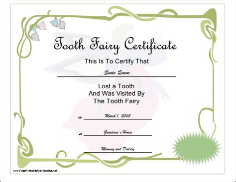 free printable tooth certificate template printable certificates tooth certificate