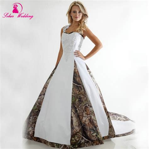 2016 camo wedding dresses halter camouflage bridal