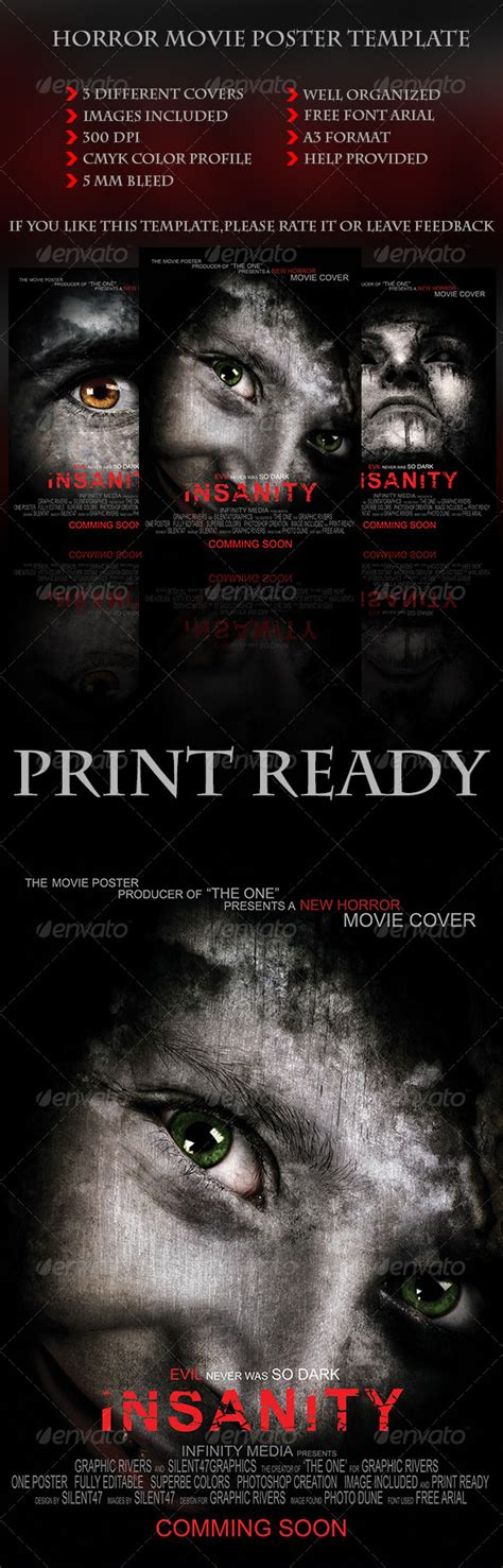 Horror Movie Poster Template By Silentgraphics Graphicriver Documentary Poster Template