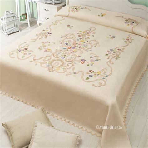 lenzuola per da ricamare punto croce puro lino disegnato per fare il copriletto matrimoniale