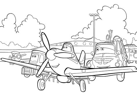 Dusty Planes Coloring Pages by Plane Dusty With Friends Coloring Pages For