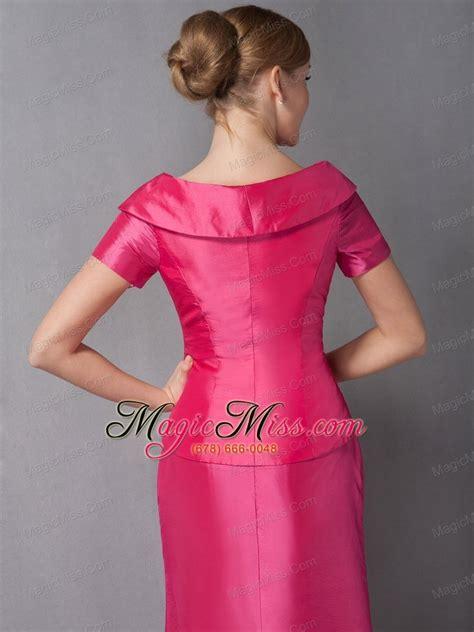 Gpt Vneck Pink by Pink Column V Neck Ankle Length Taffeta Ruch Of