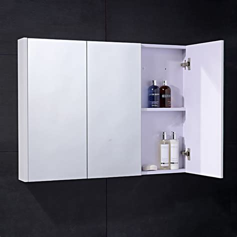 White Mirrored Bathroom Cabinet Cuba Aspen 90cm 3 Door White Mirror Cabinet