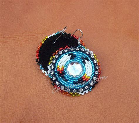 beaded american earrings american beaded earrings two feathers by cheyennenoon
