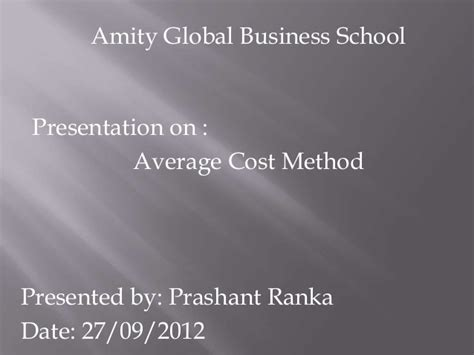 Amity Mba Value by Average Cost Method