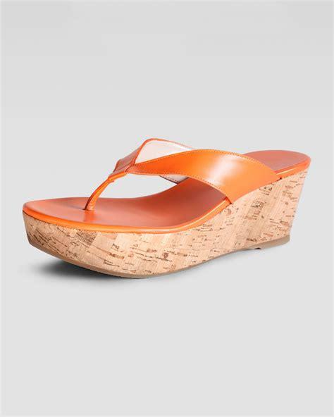 orange cork wedge sandals stuart weitzman clasp cork wedge sandal orange in