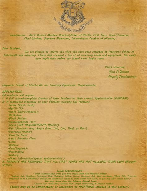 Personal Acceptance Letter From Hogwarts Acceptance Letter By Zztakeruzz On Deviantart