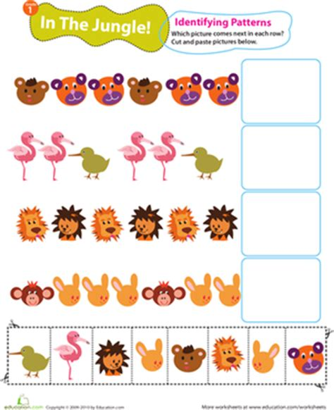 identifying patterns worksheets for grade 1 identifying patterns in the jungle worksheet