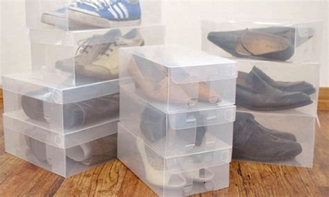 clear shoe storage boxes 10 clear shoe storage boxes groupon goods