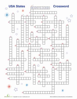 usa map crossword puzzle usa states crossword worksheet education