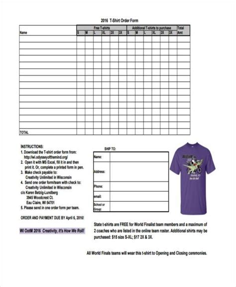 blank t shirt order form template sle order forms