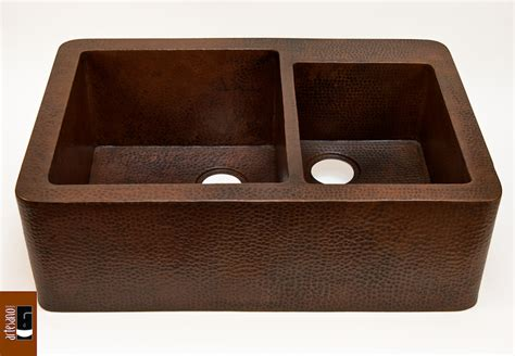 Buy Farmhouse 60 40 Kitchen Copper Sink in Cafe Viejo finish at Discount Prices!