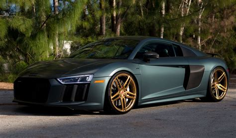 Audi R8 green matte 2017 audi r8 v10 plus on vossen wheels for sale