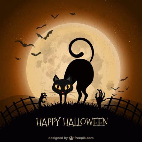 imagenes halloween gato fondo de halloween con gato negro descargar vectores gratis
