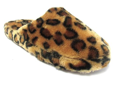 s animal slippers womens faux fur slip on animal print scuff slippers