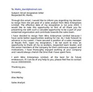 resignation email template resignation letter format 9 free documents in