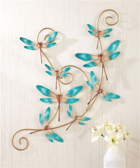 Dragonfly Bathroom Decor by 3d Turquoise Dragonfly Hanging Scroll Metal Wall