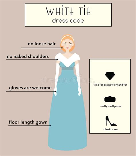 Dress Code 231 White dress code infographic white tie in evening gown dress stock vector