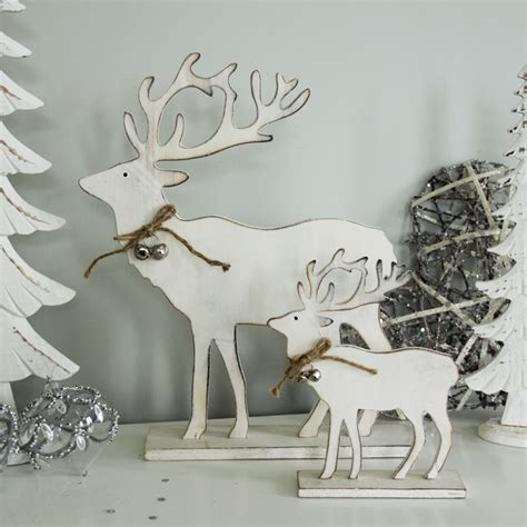 white wooden freestanding reindeer christmas decoration