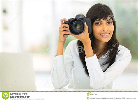 indian photographer dslr camera stock image image