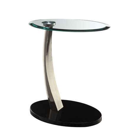 Glass Side Table Powell Black Glass Top Side Table 317 892 The Home Depot
