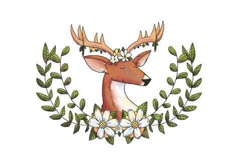 Forest Colorful Flower Crown watercolor deer animal forest with flower crown and leaves