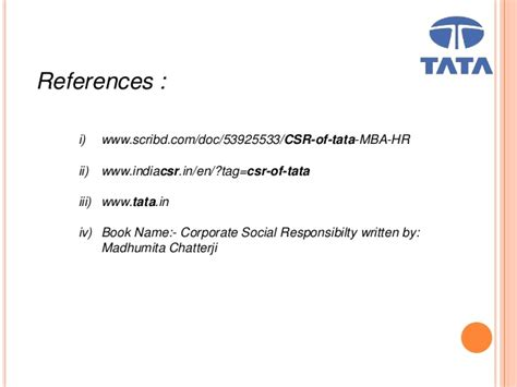Mba Csr Of Tata by Csr Of Tata