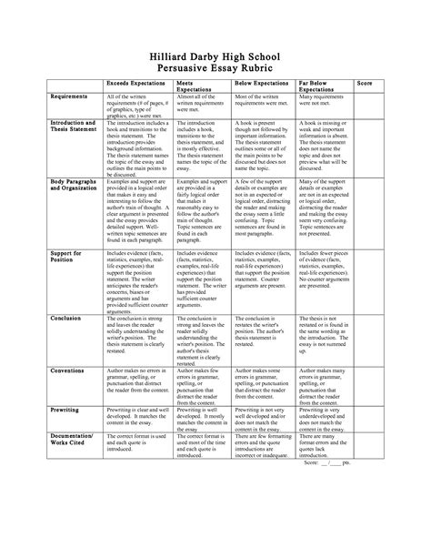 Persuasive Essay Writing For Middle School by Impromptu Speech Rubric Middle School Rubrics Presentation And Name On Pinteresttypes