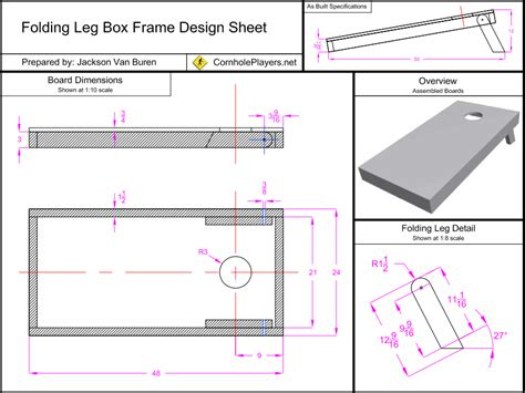 bean bag toss board dimensions folding leg box frame design spec sheet for