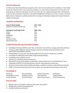 Driver Description Template by Forklift Resume Template 6 Free Word Pdf Document