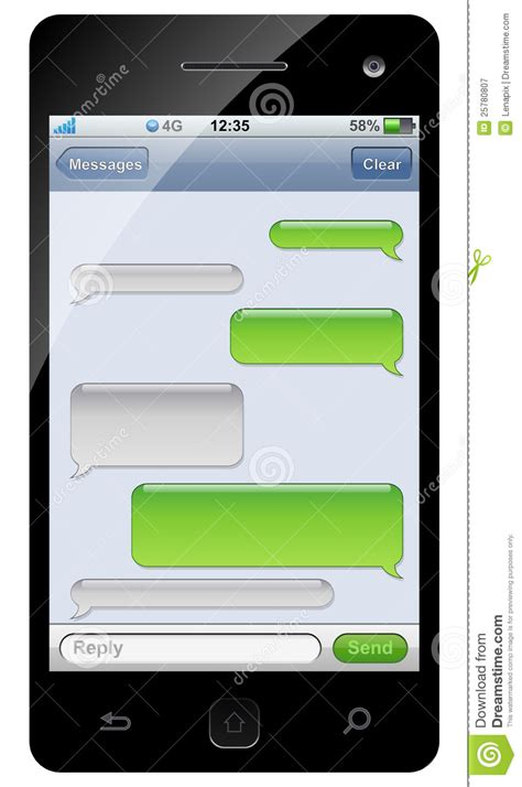 free text templates for android smartphone sms chat template stock vector image 25780807
