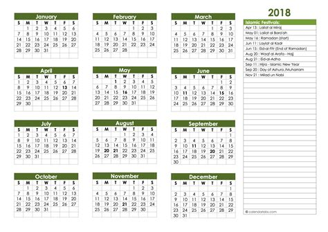 islamic festivals calendar template  printable templates