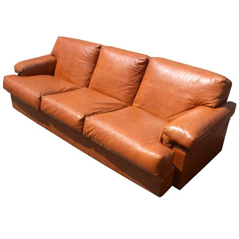 burnt orange leather sofa 90 quot mid century leather three seater sofa