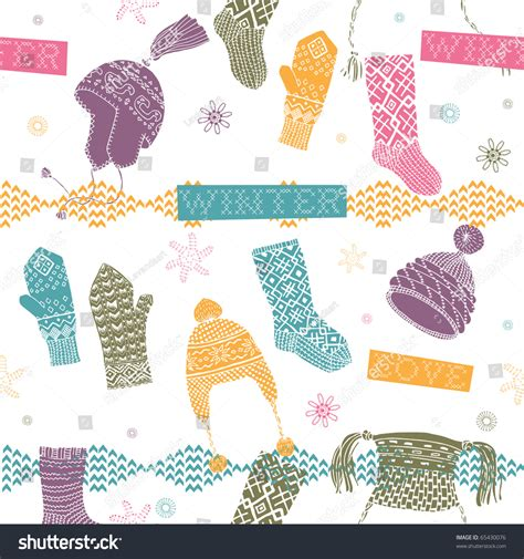 seamless mitten pattern winter seamless pattern with hats mittens and socks stock