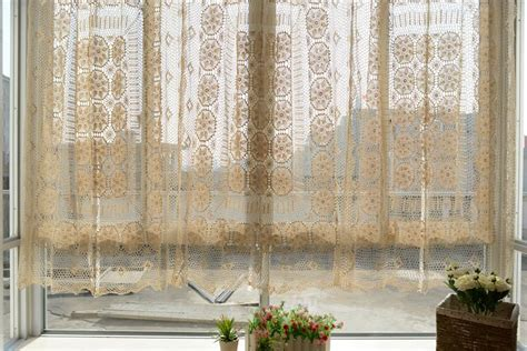 sheer balloon curtains country style cotton line full crochet balloon shade sheer