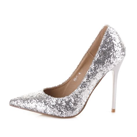 High Heels Gliter Silver Lj 05 Murah womens silver matchbox glitter stiletto high heel