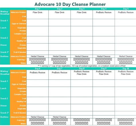 printable planner chart advocare 10 day cleanse printable planner fat chick to