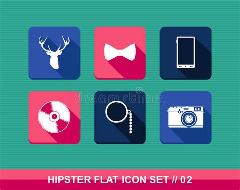retro style pet icons set vector free download retro hipsters style flat icons set stock vector image