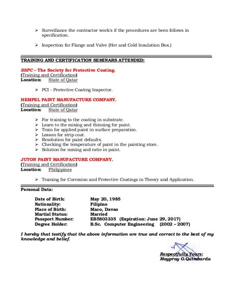 Coating Inspector Sle Resume by Resume Of Qaqc Inspector Coating Painting And Insulation