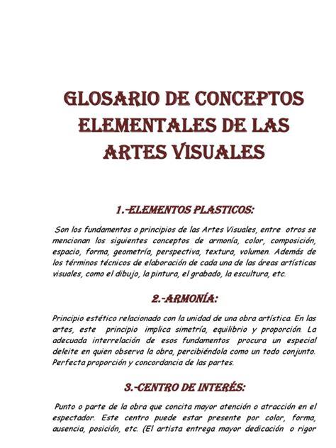 imagenes sensoriales visuales concepto glosario de conceptos elementales de las artes visuales